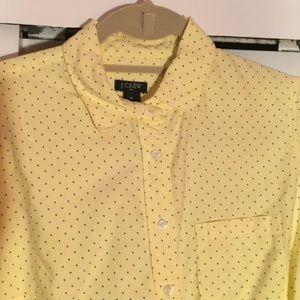 JCrew yellow with purple polka dots oxford